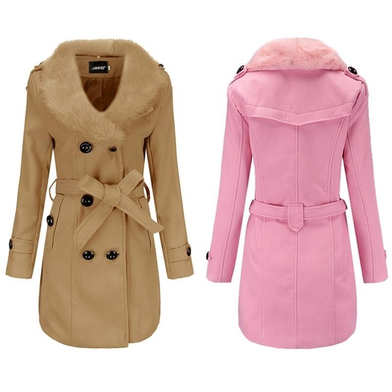 2020 шерстяное пальто женская средняя длина женская ветровка зимняя одежда корейский большой шерстяной воротник с двойным лицом шерстяное пальто lj201128