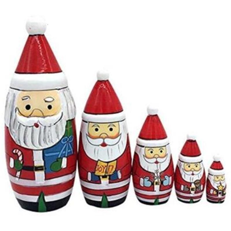 5 pçs / set Matryoshka boneca Christams Santa de madeira Russo nidificação Dolls Presente matreshka artesanato artesanato CCA8070 50set