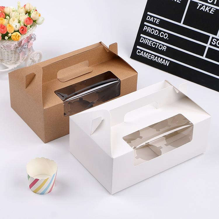 Transparent fenêtrés Boîtes de petit gâteau Livre blanc brun Muffin Boîte Boîte gâteau Portable Party boîte-cadeau WB2818