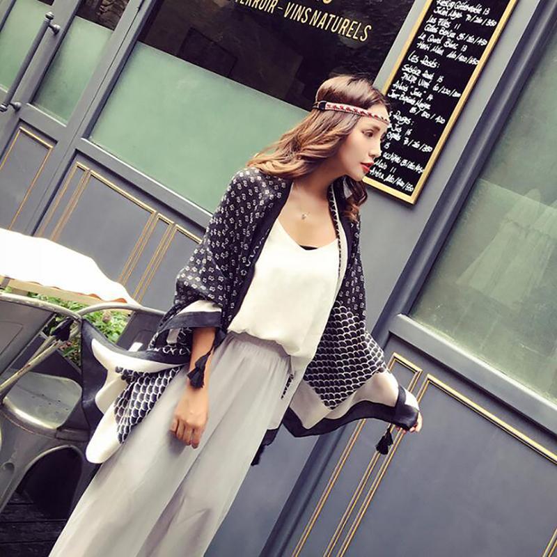 2021 Damen Mode Quaste Viskose Schal Schal Schwarz Weiß Frauen Hohe Qualität Wrap Stolische Muslim 180 * 100 cm