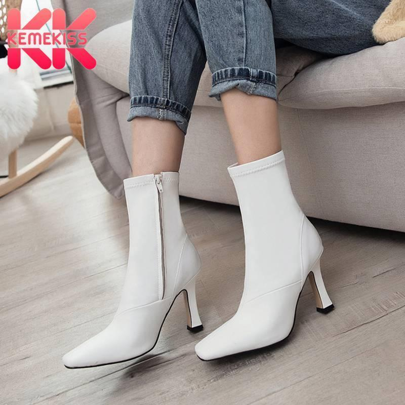 KemeKiss Size 33-43 Genuine Leather Women Ankle Boots Sexy High Heel Winter Shoes Woman Warm Short Boot Office Lady Footwear1