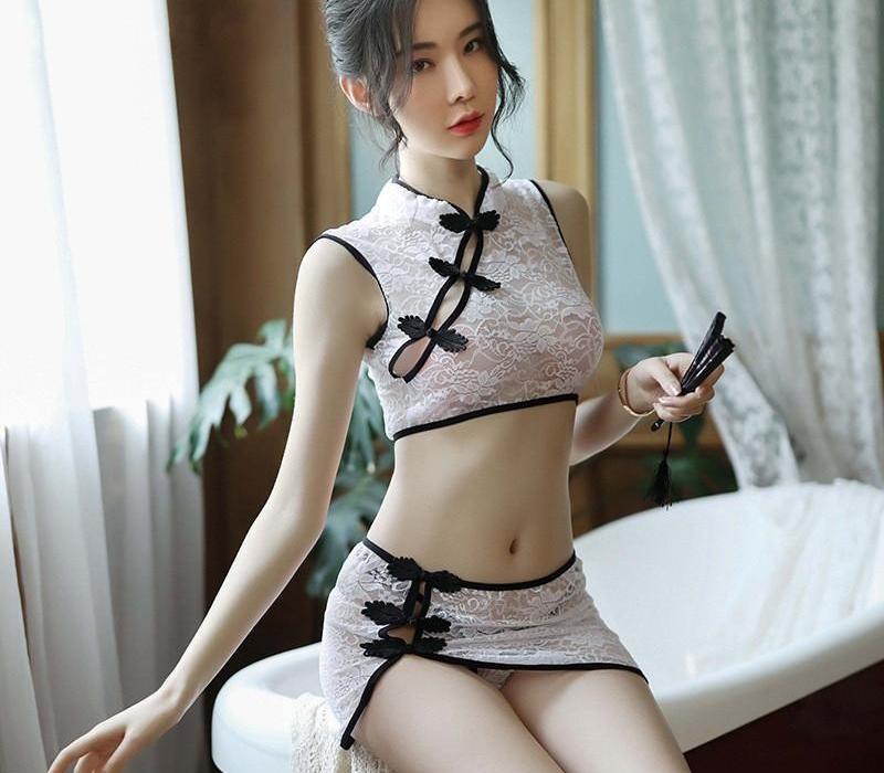 Sexy de encaje floral nudo Tops con Panty pijamas Set 2020 Nuevo cheongsam del estilo chino 3pcs perspectiva Inicio Clothes99