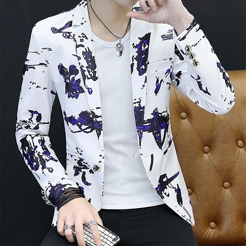 Floral Stampa Blazer Giacca Uomini Coreano Trend Streetwear Uomo Abbigliamento Casual Suit Cappotto maschile Slim Fit Blazer Masculino 201126