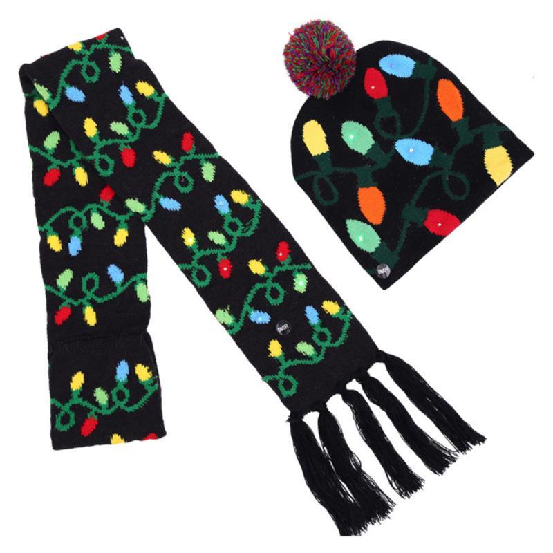 جديد عيد الميلاد قبعة الكبار الملونة مضيئة قبعة دافئة أزياء عيد الميلاد led مضيئة قبعة التزلج وشاح مضيئة HWB2354