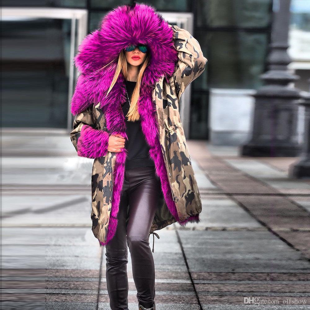 Hiver Nouveau Femmes Designer vers le bas Parcs épais de fourrure Conception de longs manteaux de camouflage de chaud vers le bas