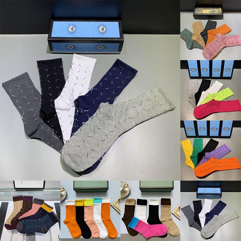 2021 diseñador para mujer para hombre Calcetines Cinco Marca Luxe deportes de invierno de malla impresa letra del calcetín de algodón hombre Femal calcetines con la caja para el regalo