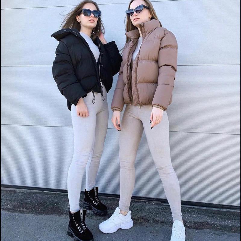 Mode Bubble Mantel Feste Standardkragen Übergroß Kurzjacke Winter Herbst Weibliche Kugeljacke Parkas Mujer 2020