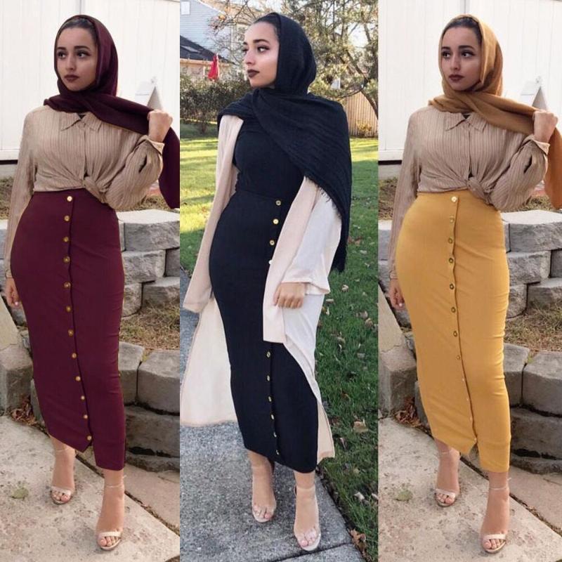 Buytiz Yüksek Bel Düğmesi Bodycon Maxi Etek Artı Boyutu Abaya Dipleri Kadınlar Uzun Türk Sarı Kalça Müslüman Etekler İslam Giyim1