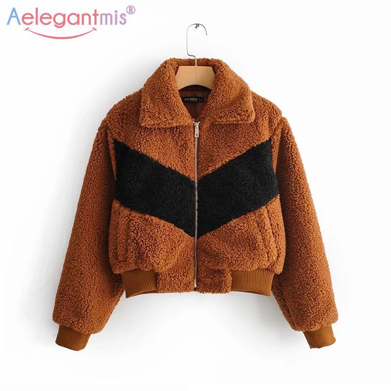 Aelegantmis Yeni Tasarım Faux Kürk Ceket Kadınlar Kabarık Streetwear Shaggy Palto Sonbahar Kış Sıcak Peluş Teddy Coat