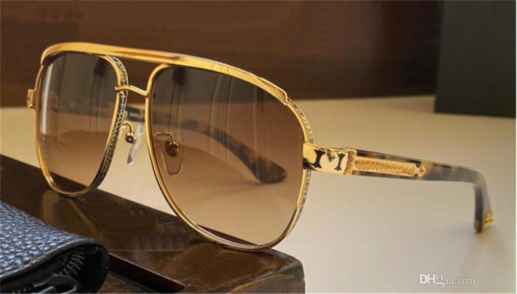 패션 디자인 남자 선글라스 boneheard 파일럿 금속 프레임 팝 관대 한 스타일 UV400 보호 안경 케이스와 최고 품질