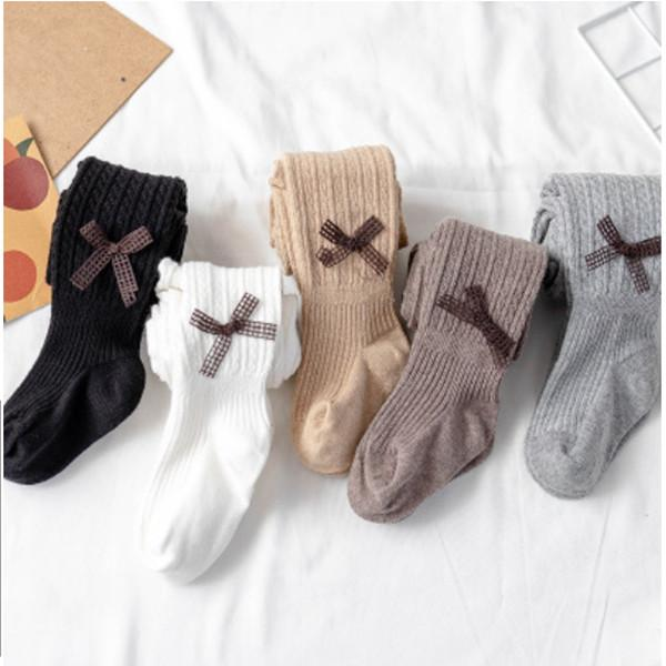 Baby Bowknot socks legging Kids Knitted Solid Cotton Elastic Tights Girls Pantyhose Outdoor Warm Skinny Stocking YHM111