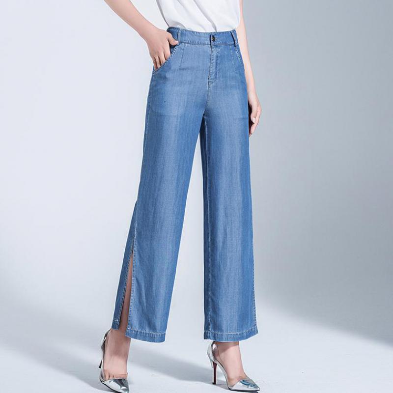 Estate Autunno casuale delle donne abbottonatura a gamba larga vita alta Denim Blue Pantaloni, Spirng autunno femminile Donna diritto allentato pantaloni jeans