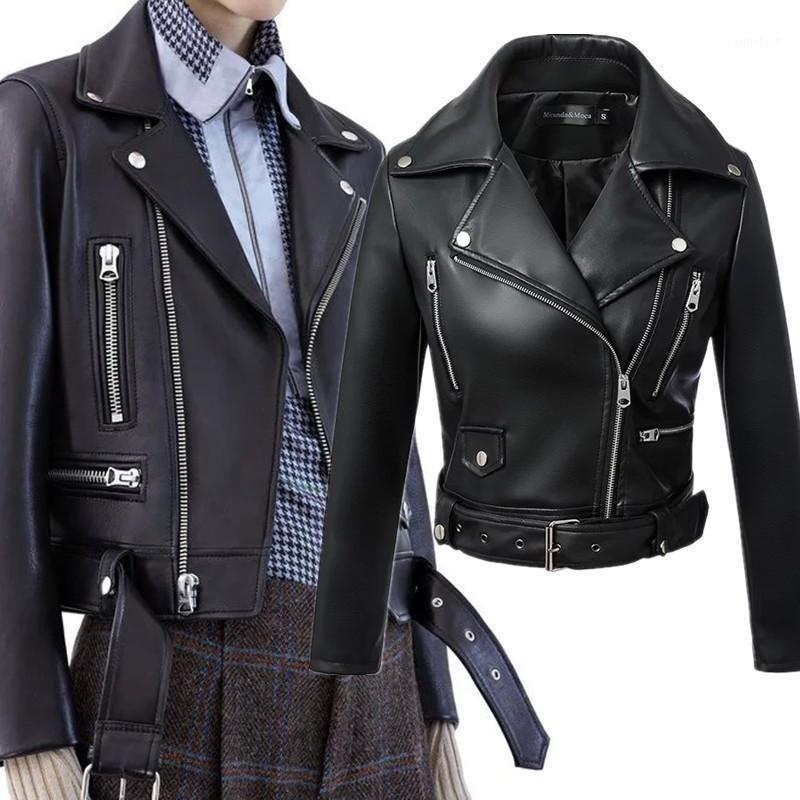 Faux Cuir Vestes Noir Couleur Mode Femmes Printemps Zipper Basic Collier Collier Roule-Down Collier Jacket1