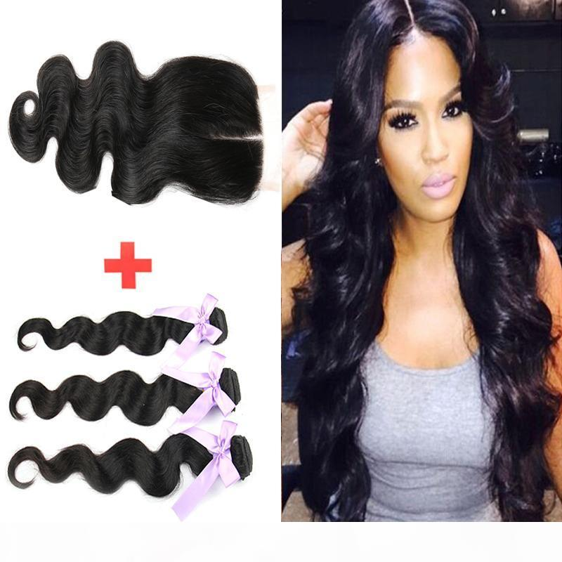 7A Top Lace Closure Free Or Middle Part 100% Unprocessed Brazilian Virgin Hair Body Wave With 4*4 Lace Closure Human Hair Extensions