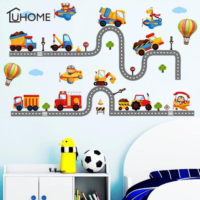 2 Highway Set fumetto Auto Wall Stickers per Play Kids Room per bambini scuola materna del bambino Camera Home Decor ARTE MURALE Pvc Stickers
