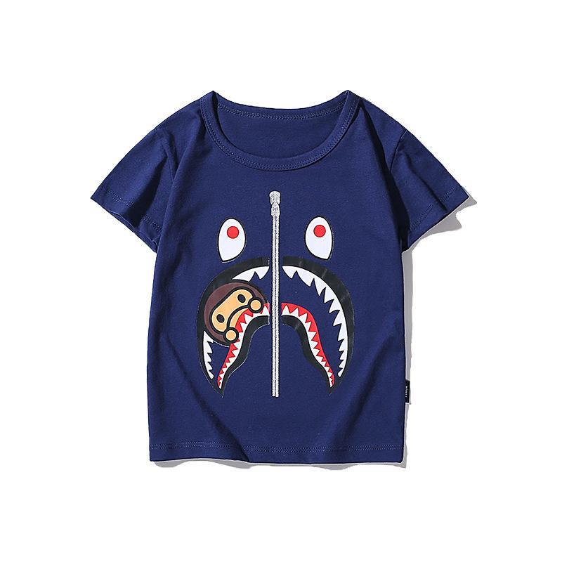 Mono Tiburón algodón manga corta muchachos y niñas impreso chao marca camiseta sin estiramiento Hyzu