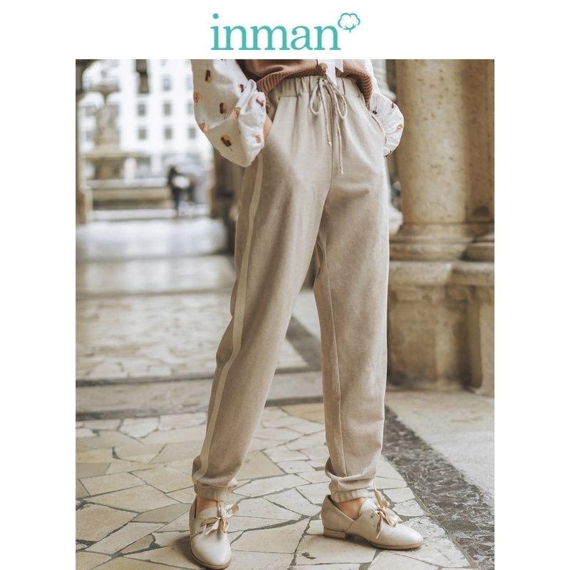 Inman printemps automne coton mélange de taille élastique divisée mode décontracté femme pantalon 201111