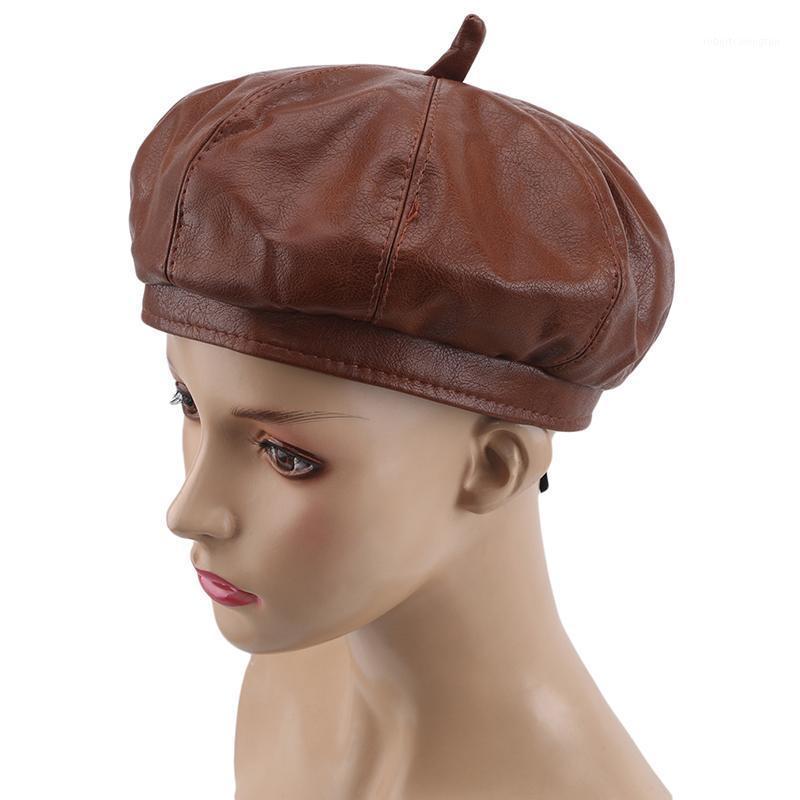 Le donne Hot Fashion Beret Solid Color PU in pelle Berretto Francese Artista French Cappello caldo Cappello Cappello Cappello Cappello Cappello Ragazza Gifts1