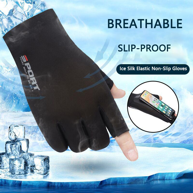 Estate Ice Seta senza dita Uomini di guida in bicicletta elastico Protezione UV di protezione solare Anti-Slip Camping Due-Finger Gloves