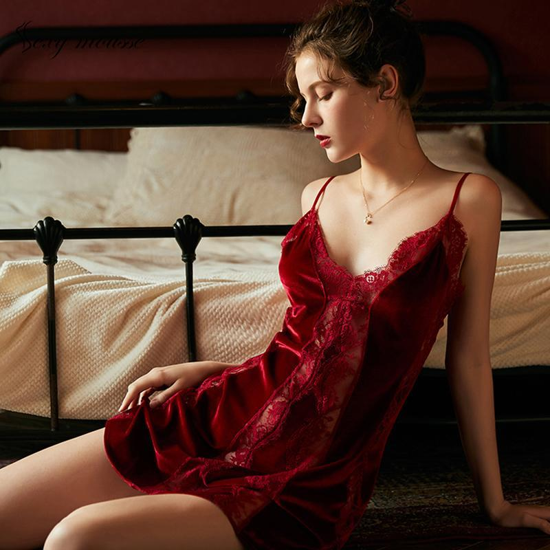 Women's Vintage Velvet Sexy Passion Products Nightdress Velvet Lace Strap Princess Style Womens Nightgown Sleepwear Night Wear