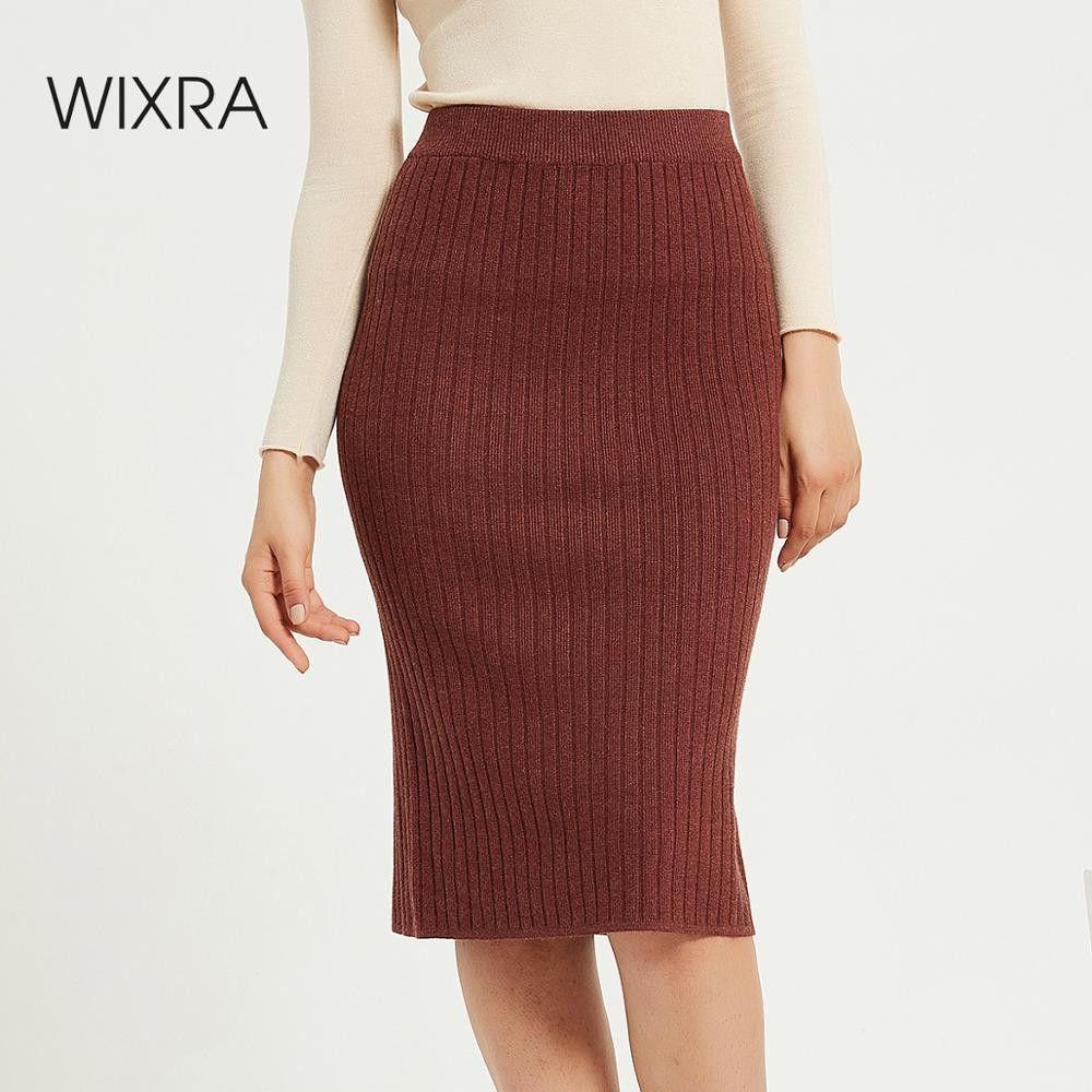 Wixra Womens Knitted Skirts Slim Solid Basic Ladies High Waist Knee-length Skirt Streetwear Autumn Winter Hot 200922