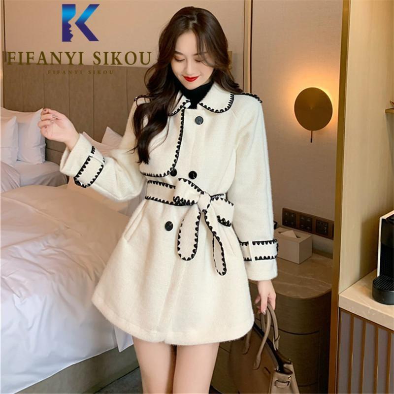2020 Winter-Frauen Wollmischung Mantel Mode Einreiher Revers langen Wollmantel Dame-elegante lose starke warme Overcoat