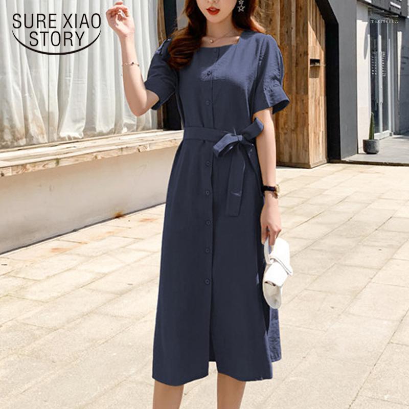 Vestidos casuales algodón y lino azul marino cinturón delgado vestido de verano de un solo pecho Empire Moda de manga corta Collar cuadrada Midi Vestidos 8833 501