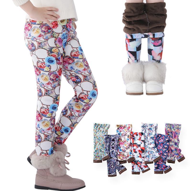 Симпатичные девушки леггинсы малыша дети густые теплые брюки детей зима осень печать цветочные штаны для 7 девушек