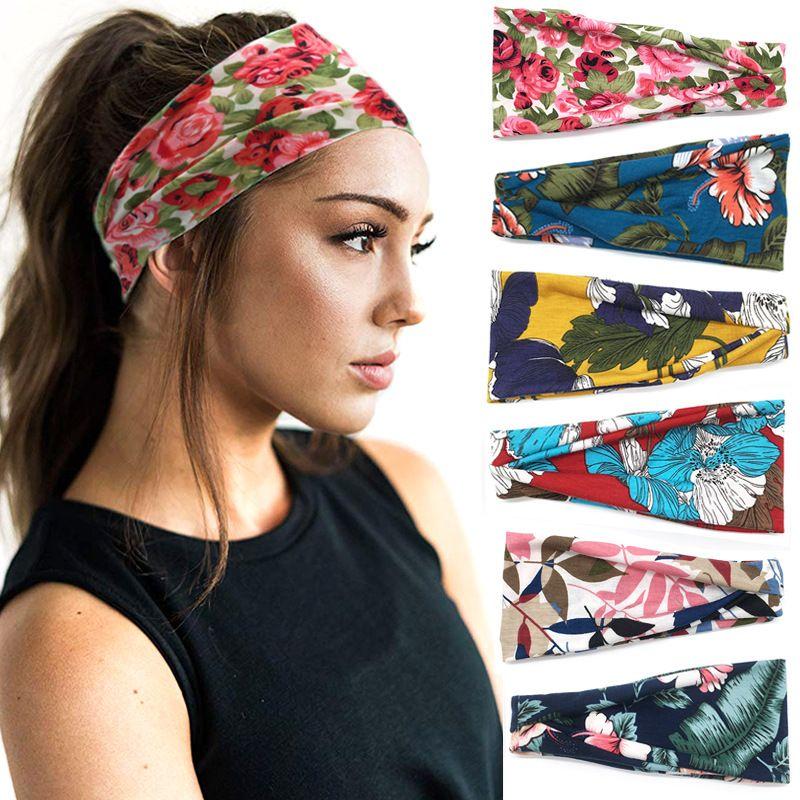Gedruckte Blumen Turban Yoga Läuft Stirnband-elastischen Sport Reise Hair Boho Headwraps für Frauen Mädchen Netten Haarschmuck YW33