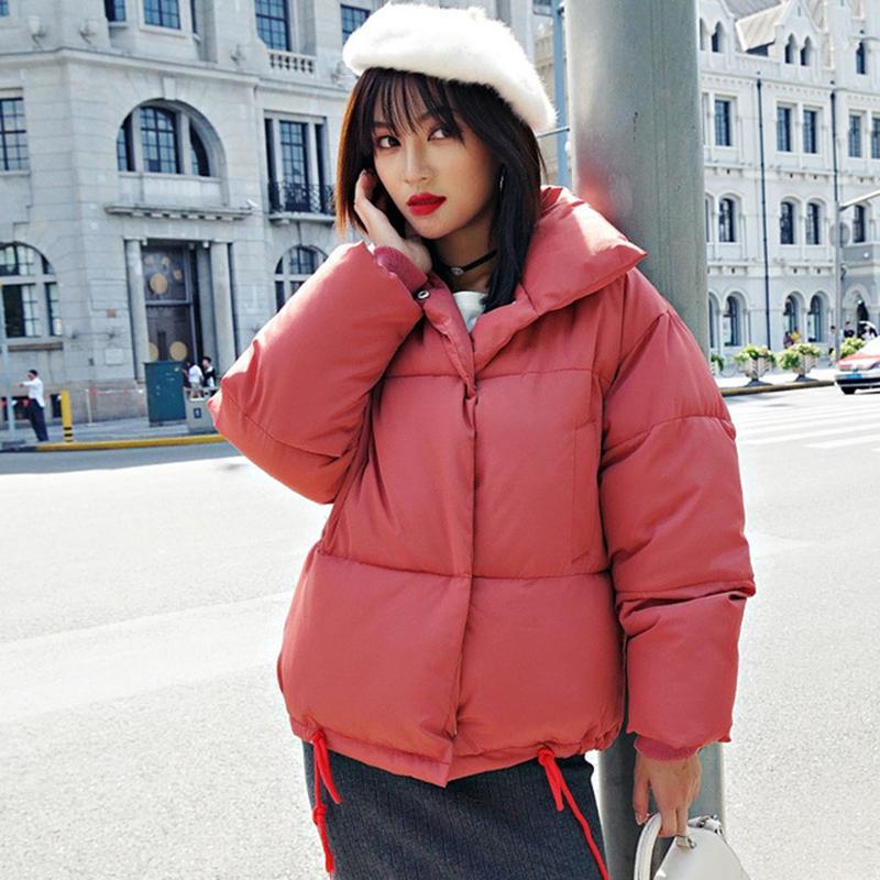 Chaqueta de burbujas cortas para mujeres Invierno Parkas Sólidas de estilo coreano Cuello de soporte de algodón grueso Abrigo acolchado Femme Kurtka Damska 201110
