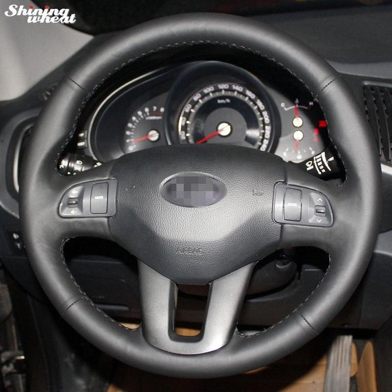 Bannis Cousu main noir Volant en cuir couverture pour Kia Sportage Sportage 2011 2014 Kia 3 Ceed 2010 3mXx #