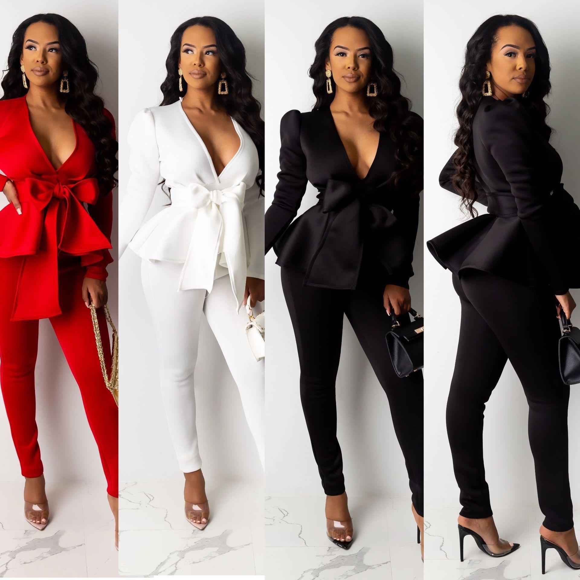 2020 Les femmes Nouveau Survêtement d'hiver Femmes Ruffles Bow Blazers Pantalons Suit 2 En deux pièces Paramétrez Lady entreprises Tenues uniformes