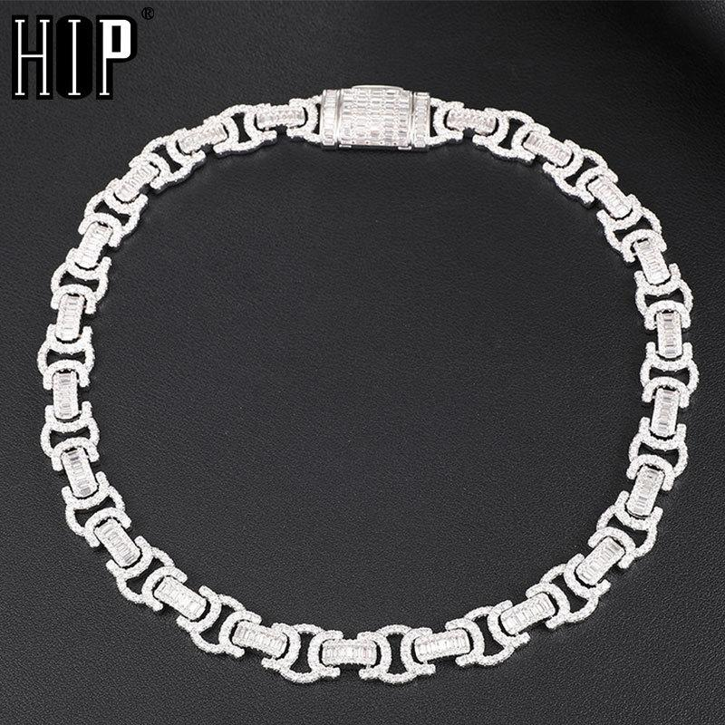Hip Hop 14MM Byzantine Baguette Bling Box Buckle Iced Out CZ Copper Setting AAA+ Cubic Zirconia Stones Chain For Men JewelryQ0115