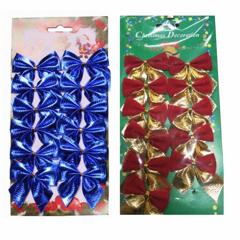 Nuovo 12Pcs 5 cm Albero di Natale Decorazioni arco colore Bowknot Decorazioni di Natale per l'albero di Natale Noel Ornamenti per casa cyPq #