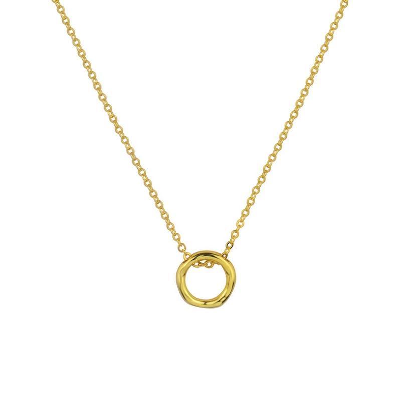 Simple 925 Collar de plata esterlina Círculo redondo irregular Colgante colgante para mujer Declaración de cadena de clavícula de moda