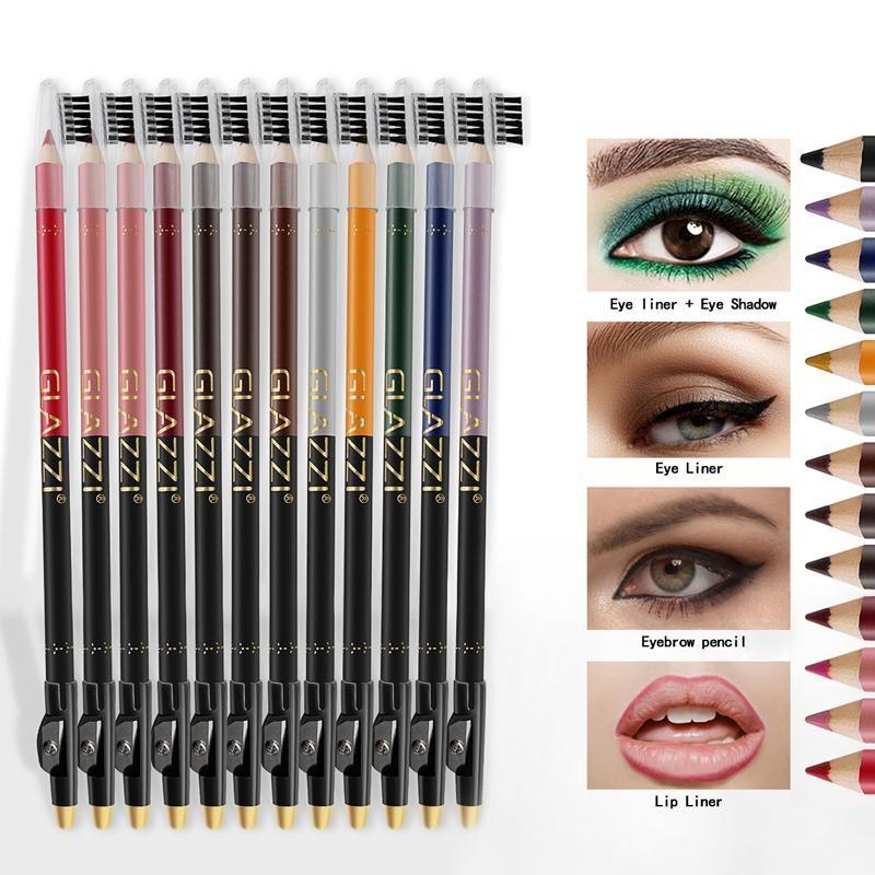 Eye-liner 12 couleurs stylo en bois ombre ombre ombre gel sourcil crayon lèvre doublure de maquillage surligneur sertie de brosse à oeilbrown