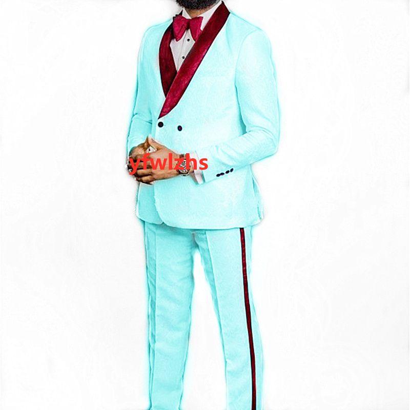Handsome Embossing Groomsmen Shawl Lapel Wedding Groom Tuxedos Men Suits Wedding/Prom/Dinner Best Man Blazer(Jacket+Tie+Pants) T267