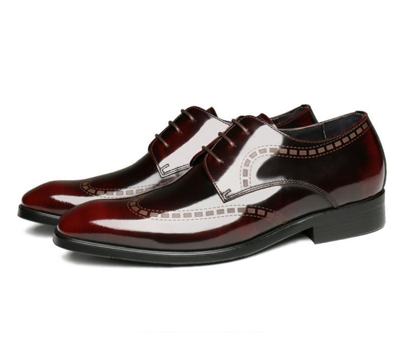 Sapatos Moda Preto / Vinho Tinto Derby Mens Negócios genuíno casamento do Couro Calçados Meninos Formal