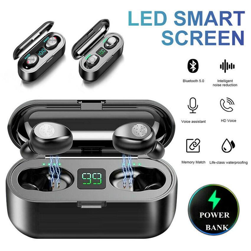 Nouvel écouteur sans fil Bluetooth V5.0 F9 TWS Headphone HIFI STEREO ETEBUDS LED Affiche Touch Touch Control 2000MAH Casque de banque de puissance avec micro