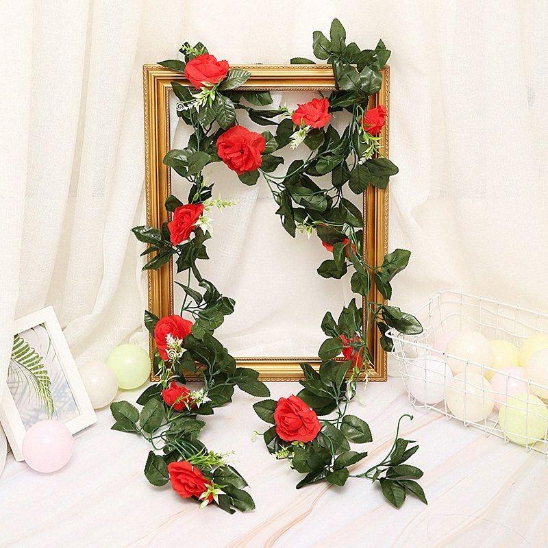 Ev Bahçe Dekorasyon DIY Düğün Kemerler Garland X2u1 için # 33pcs Yeşil Yapraklar ile 240cm 11pcs Yapay Güller Çiçek Vines Rattan