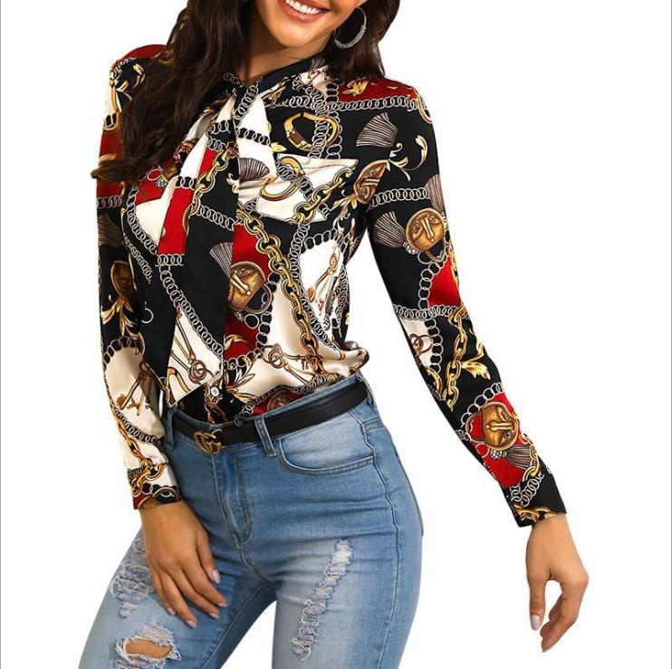 Femmes Blouse Mode Streetwear Contraste Contraste Couleur Chaîne Pattern Imprimer Chemises Femme Chemises Automne À Manches longues Revers Cravate Tops en gros
