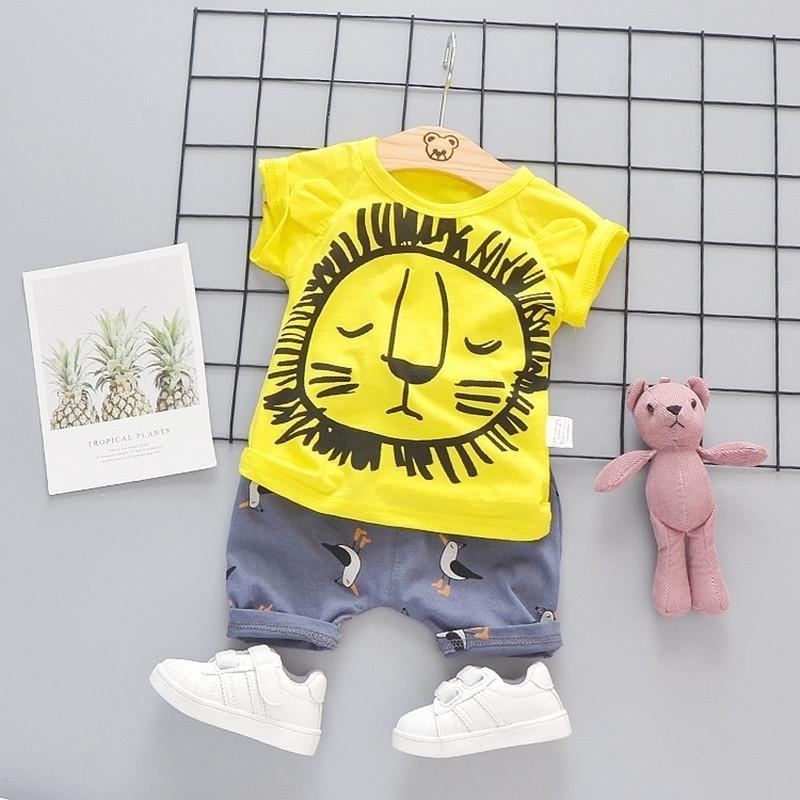 Sommerkleidung Kinder Kleinkind Jungen Mädchen Hemd Anzug 1 2 3 4 Jahre Löwe Set Kurzarm Baumwolle Kinder Kleidung Jungen Outfit Gedruckt 201031