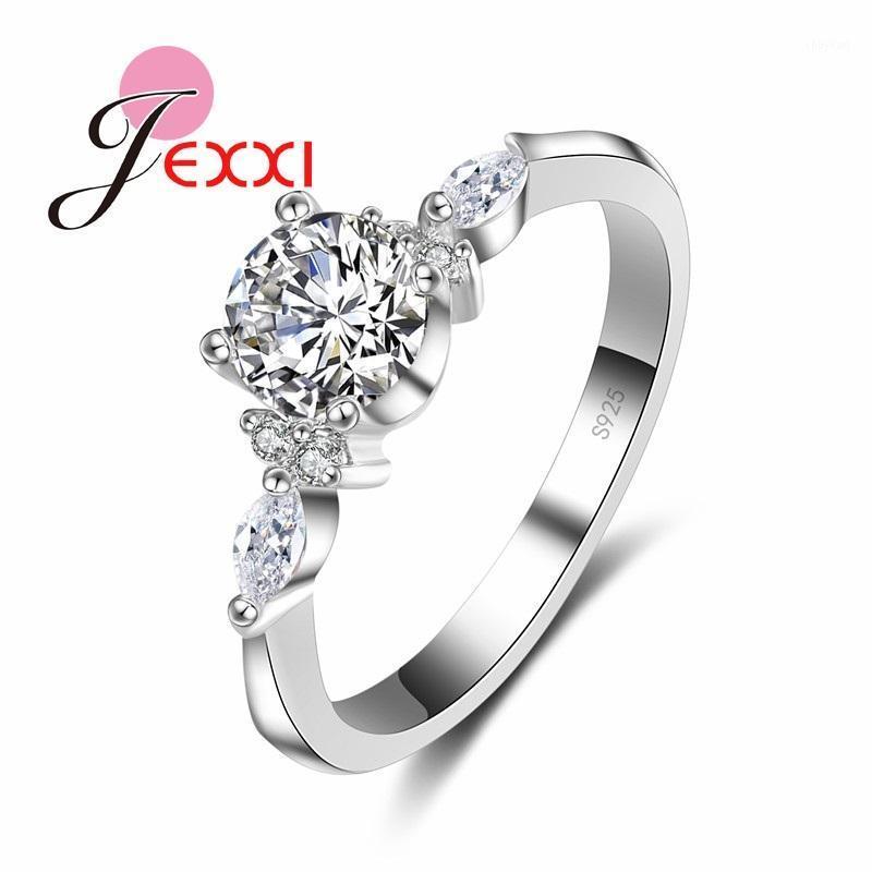 Женщины Предложения Rings для Стерлингового серебра 925 Мода Anillos Bijoux Cubic Zircon Crystal Wedding Обручальные кольца Ювелирные Изделия1
