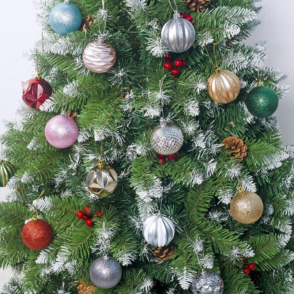 12pcs 5.5cm Glitter baubles palle dell'albero di Natale del partito Hanging Decor eL5I #