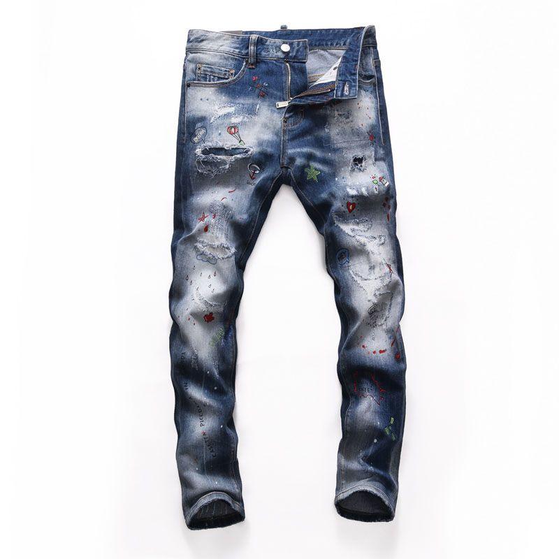 قمم ممزق رجل مجعد رمادي جينز مصمم الأزياء سليم صالح غسلها موتوسيكلي الدينيم السراويل الألواح الهيب هوب السائق السائق NJ8254