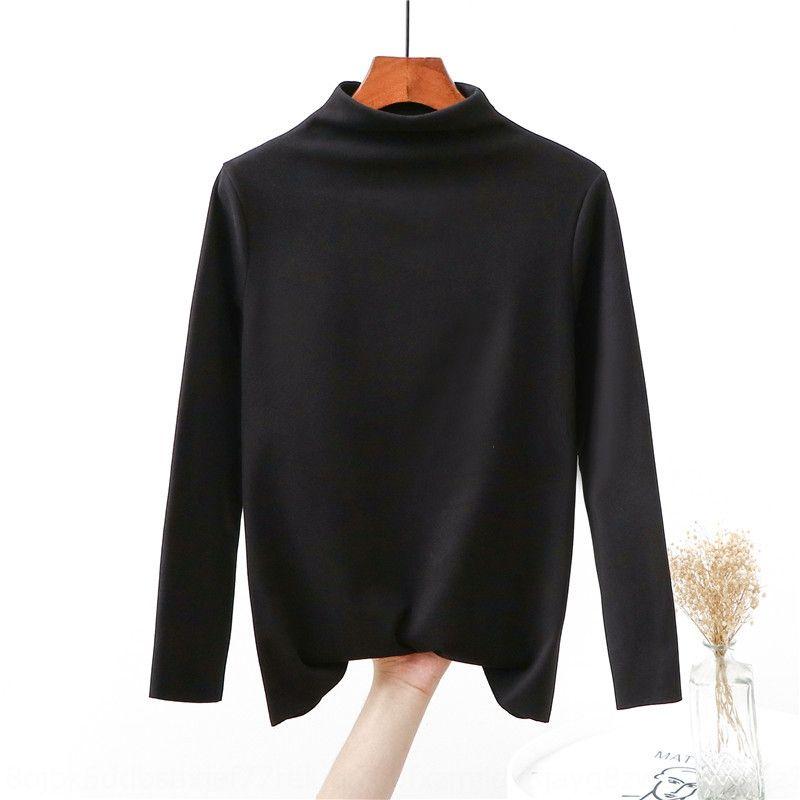 Camiseta de manga larga cálidos y superior del invierno de la mujer con la felpa grande engrosamiento ropa interior sin costuras sueltas y ropa de otoño tela de la ropa de otoño