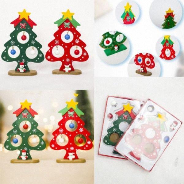 US Weihnachten Holz Weihnachtsbaum MINIL hängend Dekor verziert Hauptdekoration Weihnachtsdekoration Artikel Weihnachtsdekoration zauj #
