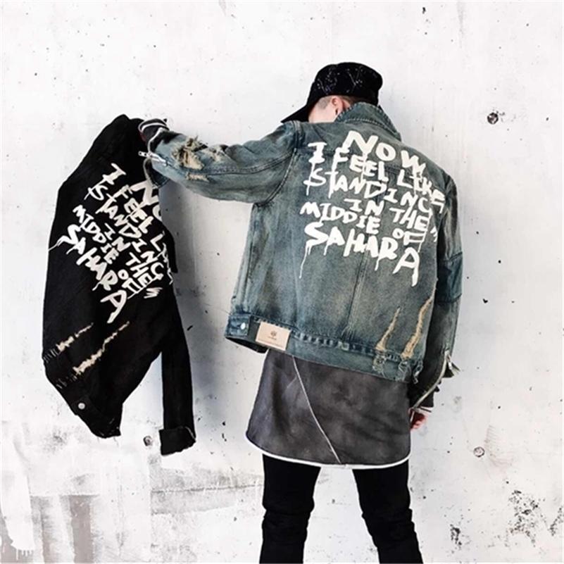 Jackets Jean pour hommes Streetwear Hip Hop Bomber Jacket Jacket Denim Jacket Hommes Brand Denim Vestes Casual Mode manteau LJ201013