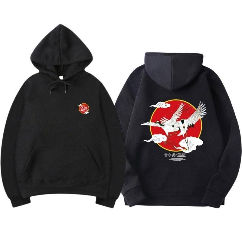Hombres Hip Hop Streetwear Hoodie Harajuku Impresión Crane Kanji Sudadera Sudadera Sudaderas Autumn Pullover Hoodies Sudaderas Japón Estilo Casual Y201123