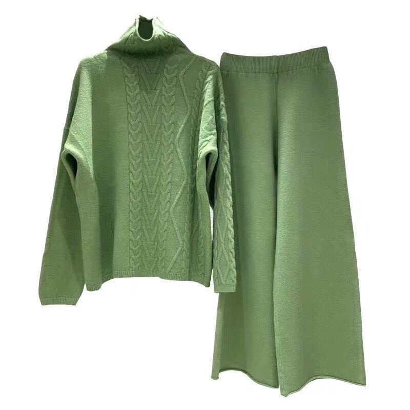 2020Women Wollsalbe Warme Strick Anzug Weibliche Wide Beine Pullover Pullover Hose 2 Stück Set, Aprikosenrosa Grün Blau T200118